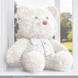 Urso com Laço Corações Azul 52cm