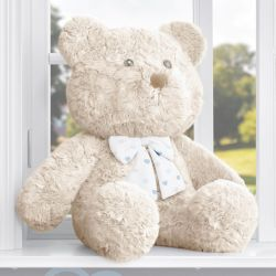 Urso Bege com Laço Corações Azul 52cm