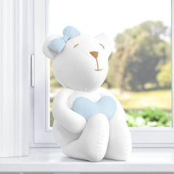 Ursa com Coração Branco/Azul 42cm