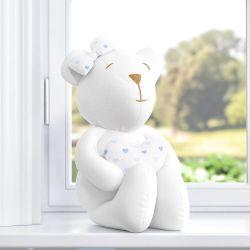 Ursa com Coração Branco/Estampa Corações Azul 42cm
