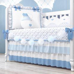 Varal Decorativo Bolinhas de Tule Azul 1,30m