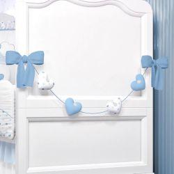 Varal Decorativo Corações Azul 70cm