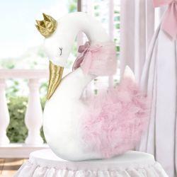 Bichinho de Pelúcia Cisne Branco e Rosa 45cm