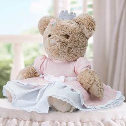 Ursinha Premium com Vestido Branco e Rosa 45cm