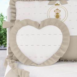 Almofada Coração com Babado Bege 33cm