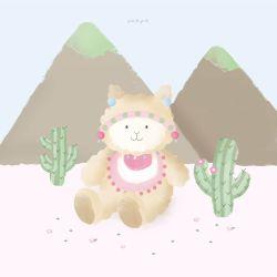Quadro Amiguinha Lhama nas Montanhas