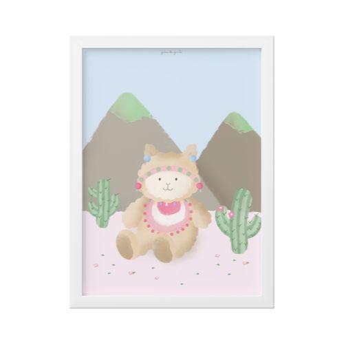 Quadro Amiguinha Lhama nas Montanhas 25cm