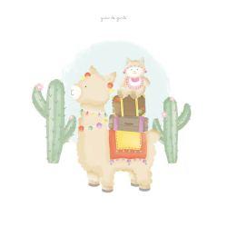 Quadro Amiguinhas Lhamas no Deserto
