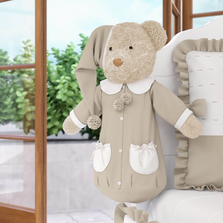 Porta Fraldas Urso Teddy Realeza Bege 60cm  077099883251