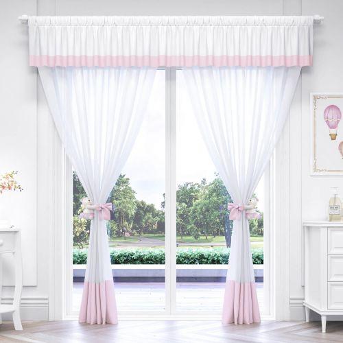 Cortina Luxo Branca/Rosa