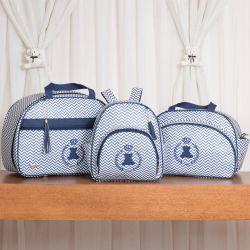 Conjunto de Bolsas Maternidade Ursinho Mini Chevron Azul Marinho