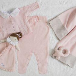Saída Maternidade Tricot Rosa/Cinza