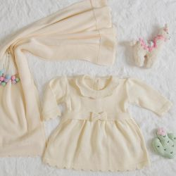 Saída Maternidade Tricot Vestido Bege