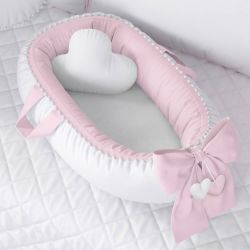Ninho para Bebê Redutor de Berço Pompom Rosa