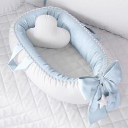 Ninho para Bebê Redutor de Berço Pompom Azul