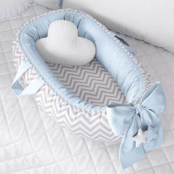 Ninho para Bebê Redutor de Berço Pompom Chevron/Azul