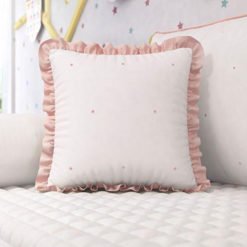 Almofada Babado e Estrelinhas Rosé 38cm
