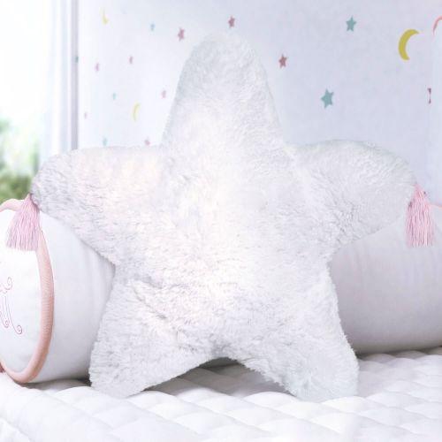 Almofada Estrela Pelúcia com Tassel Rosa 38cm
