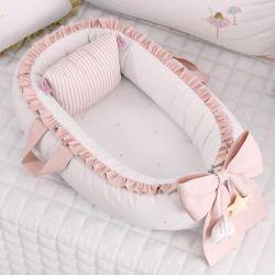 Ninho para Bebê Redutor de Berço Circo Estrelinhas Rosé