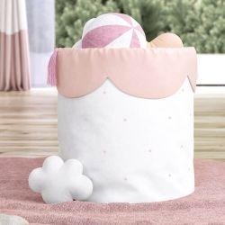 Cesto Organizador para Brinquedos Estrelinhas Rosé 28cm