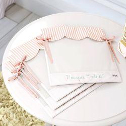 Saquinhos Maternidade para Roupinhas Listrados Branco/Rosé