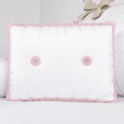 Almofada com Botões Rosa 43cm