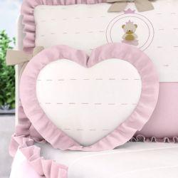 Almofada Coração com Babado Rosa 33cm