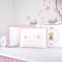 Almofadas Ursinha Realeza Rosa 3 Peças