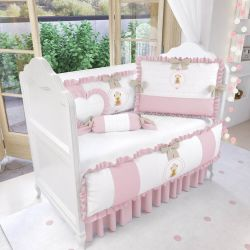 Quarto de Bebê Ursinha Realeza Rosa 17 Peças