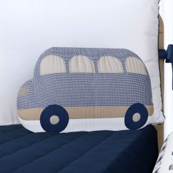 Almofada Ônibus Xadrez Azul Marinho 37cm