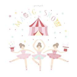 Quadro Circo Bailarinas Trapezistas 20cm