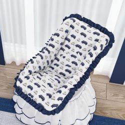 Capa de Bebê Conforto Carrinhos Azul Marinho