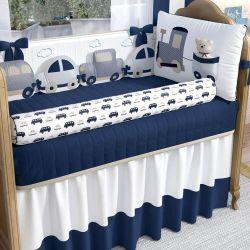 Kit Berço Carrinhos Azul Marinho