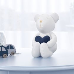 Urso com Coração Azul Marinho 15cm
