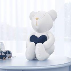 Urso com Coração Azul Marinho 42cm