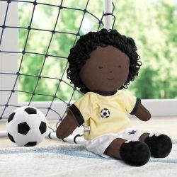 Boneco de Pano Negro Jogador de Futebol 43cm