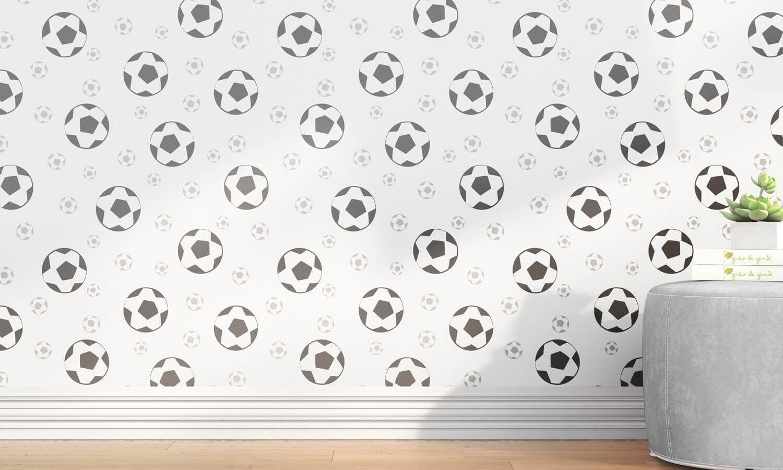 f8ac5b1a248a6 Papel de Parede Bolas de Futebol Preto 3m | Grão de Gente