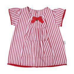 Vestido Listras e Pompom Vermelho