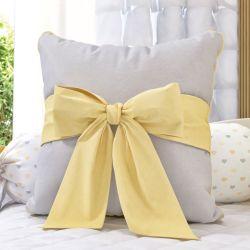 Almofada Laço Amarelo/Cinza 38cm