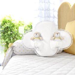 Almofada Nuvem com Ursinhos Amarelo 56cm