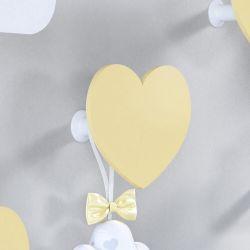 Cabideiro de Parede Coração Amarelo