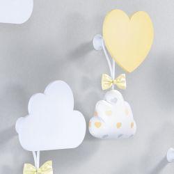 Cabideiros de Parede Coração e Nuvem Amarelo