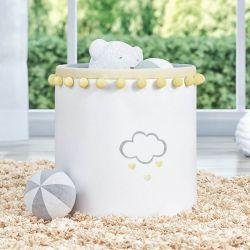 Cesto Organizador para Brinquedos Pompom Chuva de Amor Amarelo 28cm