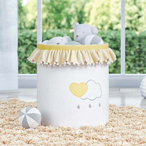Cesto Organizador para Brinquedos Pompom e Babado Chuva de Amor Amarelo 35cm
