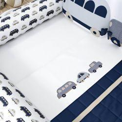 Jogo de Lençol para Mini Cama Carrinhos Azul Marinho
