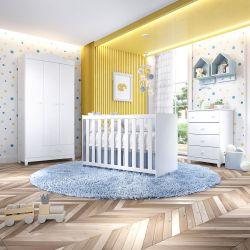 Quarto de Bebê Berço Branco + Cômoda + Guarda Roupa 3 Portas Liz