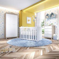 Quarto de Bebê Berço Madeira + Cômoda + Guarda Roupa 3 Portas Liz