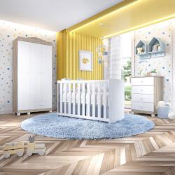 Quarto de Bebê Liz Amadeirado com Berço/Cômoda/Guarda-Roupa de 3 Portas