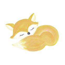 Quadro Aquarela Raposa Deitada Amarela