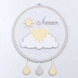 Porta Maternidade MDF Chuva de Amor Amarelo